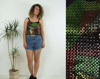 ON SALE 80's vintage women's colorful-metal top