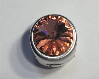 12mm Rose Peach Swarovski Crystal Slider for Double Stranded Round Leather Bracelets