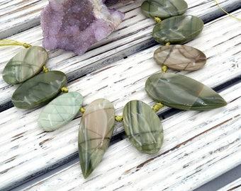 Green Imperial Jasper freeform beads (ETB01113)