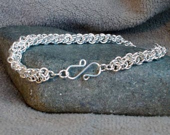 925 Sterling Silver Vipera Berus Chain Maille Bracelet