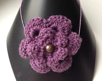 Purple crochet Flower necklace