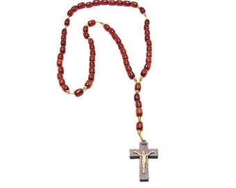 Men's Wooden Rosary Beads Necklace, Cherry Wood | Catholic Gifts
