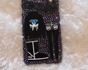 Bling Phone Cases-I love fashion- Uggs Boots-mk Bag- CC- Bling Iphone 7 Cases- Rhinestone Case- Perfect Gift for Her- Summer Cases-