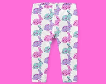 Easter Bunny Leggings, Mint, Lavender, pink floral bunnies, Baby and Toddler Leggings, footie leggings, yoga waistband