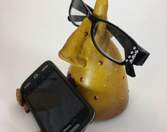 IPHONE STAND-EYE GLass Holder ,Cell Phone Desk Stand,Women Gift, Ceramic Eyeglass Nose stand