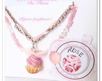 Cupcake bracelet beads, perfume has the rose (essential oils)