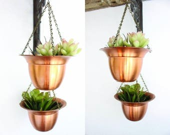 Copper Planters Set of Two Small Hanging Planters Boho Home Decor Indoor Planters Cactus Succulent Planters