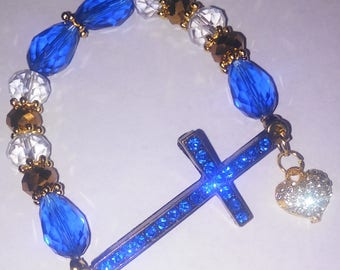 Religious Christian Jewelry Cross Heart Bracelet Religious Jewelry Christian Bling BR6