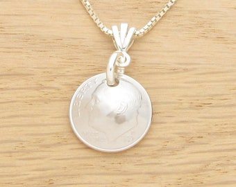 For 21st: 1997 US Dime Necklace Coin Jewelry 21st Birthday or 21st Anniversary Gift Coin Jewelry