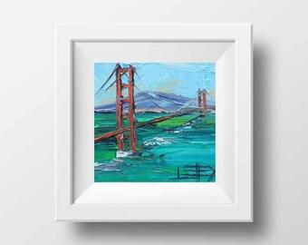 San Francisco Art, Golden Gate Bridge, California Art, California Landscape, Oil painting print, California Print, 8x8, San Francisco, Print