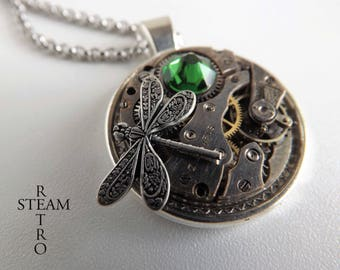 Steampunk necklace- steampunk dragonfly necklace -Steampunk pendant -green steampunk necklace - firefly necklace - women steampunk gift