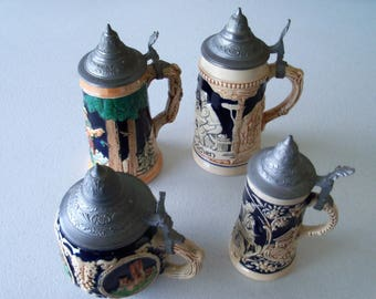 Four Small Beer Steins Germany & Foreign