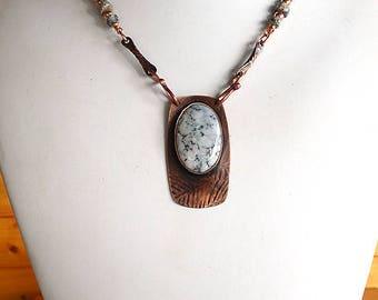 Unique Handmade Dendritic Opal on Copper Necklace   CO-1711-A