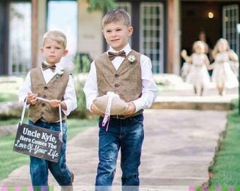 RING BEARER Tweed Herringbone LOOK Vest Bow Tie Outfit Infant Toddler Child Sizes thru Youth 10