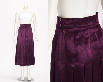 escada amethyst silk skirt vintage 1990s • Revival Vintage Boutique