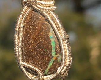 Boulder opal wire wrapped pendant, Australian boulder opal wire wrap, wire wrapped opal, boulder opal pendant, boulder opal necklace