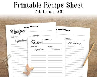 Recipe Sheet Printable, Blank Recipe Page, Recipe Binder, Recipe Book, Printable Recipe Template, Recipe Inserts, A4, Letter, A5, PDF
