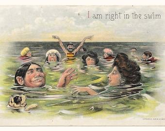 In the Swim Comic Postcard, 1908