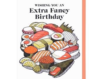 Extra Fancy Sushi Birthday Letterpress Card