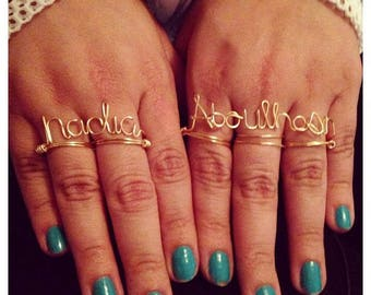 Two finger custom word gold or sliver wire wrapped ring