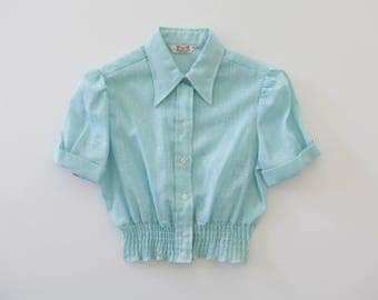 Vintage Blouse // 1970s Cinched Waist Blouse // Baby Blue Cropped Shirt