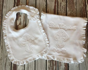 Baptism bib and burp diaper set baptism gift christening gift baptism bib baptism burp cloth