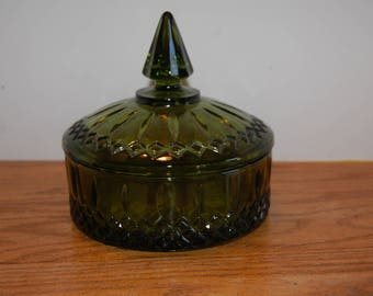 Vintage Candy Dish, Princess Candy Dish, Green Glass Dish, Lidded Bowl, Cut Glass, Indiana Glass