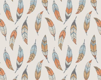 Feathers on Cream, Lewis and Irene, quilting cotton, fabric by the yard, Native American, feathers, dream weaver, fall fabric