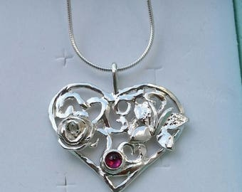SALE Silver Heart Pendant ,Sterling Silver 925 Pendant ,Heart Necklace ,Handmade Heart Pendant ,Mother Day Pendant ,Women Gemstones Heart Pe