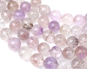 8.2mm Super 7 Multi Stone Quartz aka Sacred Seven and Melody's Stone Beads for Spiritual Healing and Mala Jewellery, Approx 22 Beads