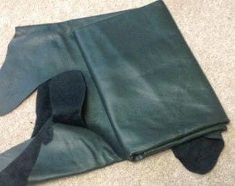 A52 Leather Cow Hide Cowhide Upholstery Craft Fabric Hunter Green 23 sq ft