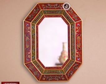 """Hand Crafted Reverse Painted Glass Wood Octogonal Wall Mirror Decor """"Life & Nature"""" - Peruvian Wall Decor Mirrors - Vanity Red Large Mirror"""