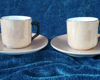 2 Gold with Black Lustreware Cups and Saucers/Small demitasse Cups and Saucers/Gold Cups and Saucers