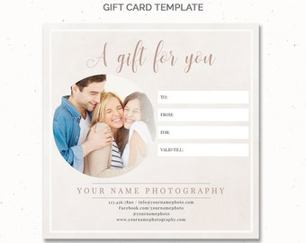 Gift Card Template One Side, Gift Certificate Template Photography, Photoshop Template, Photographer Forms, 5x5 Card Template, GC002