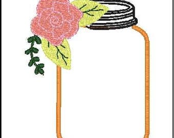mason jar applique mason jar embroidery design