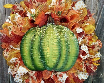 Fall Pumpkin wreath item#PMKN7