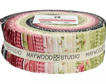 Maywood Welcome Home Floral Cotton Flannel 40 Jelly Roll 2.5 Inch Strips Fabric