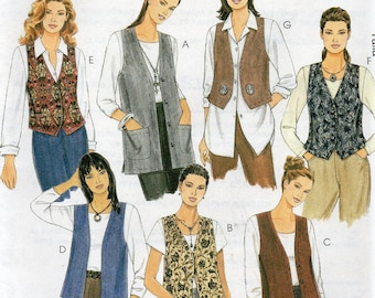 UNLINED VESTS McCall's 1 Hour Pattern 2260 Misses Sizes 12 14
