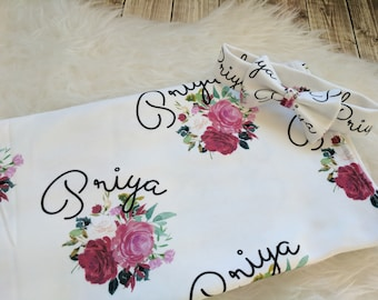 Personalized baby name rose headband and name blanket set: baby and toddler personalized name newborn hospital gift baby shower gift
