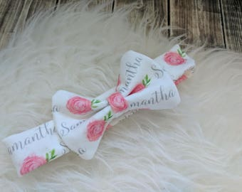 Personalized baby girl rose name headband: baby and toddler personalized name hat organic cotton knit baby shower gift