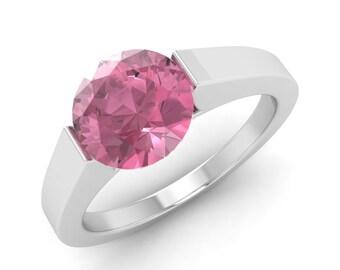1.20 Carat Pink Tourmaline Engagement Ring, 14K White Gold, Anniversary Ring, Wedding Ring, Solitaire Engagement Ring, Pink Tourmaline Ring