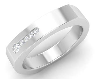 Men Engagement Ring, 14K White Gold, Round SI Diamond Men Ring, Men Anniversary Ring, Men Wedding Ring, Men Gold Ring, Rose Gold/Yellow Gold