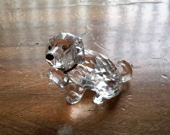 Swarovski Crystal Rescue Dog With Barrel