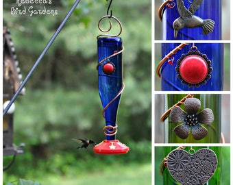 "Blue or Green Wine Bottle Hummingbird Feeder - ""The Viño"""