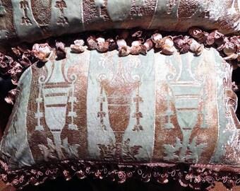 Pair Venetian Silk Velvet Pillows Desisgner  Mirella Spinella Handmade Fortuny