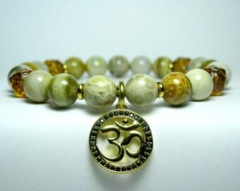 Jasper Om Bracelet, Womens Beaded Bracelet, Yoga Bracelet, Yoga Gift, Gift for Her, Meditation Bracelet, Boho Hippie Bracelet