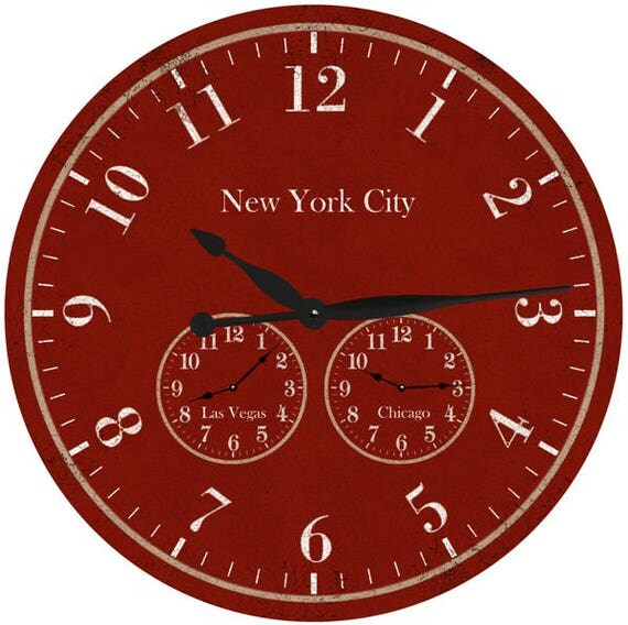 Oversized Time Zone Clock Red Timezone Wall Clock Personalized