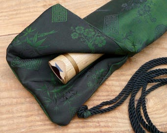 Silk Flute Bag-Padded & lined with a Vapor Barrier-Iridescent Emerald/Charcoal color- for 18 to 20 inch flute, 1.6 shakuhachi flute bag
