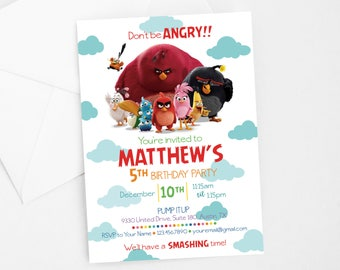 Angry Birds Invitation | DIGITAL | 5x7 | Birthday Invitation | Customized Digital Download