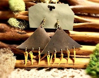 Brown leather triangle earrings with dangly yellow leather triangles.